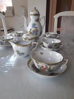 Herendi 6 személyes komplett porcelán teás készlet