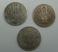 Ferenc József 1894-es ezüst 1 koronások - 3 db
