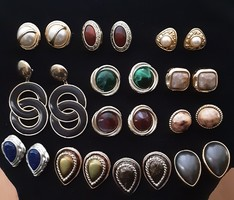 Fülbevaló  vintage arany és ezüst színű, különböző forma, színkombinációval készült retro fülklipsz