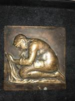 Szép szecessziós stílusú bronz kép ,plakett  Hafner A. jelzéssel