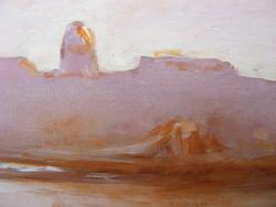 Pókos Szvetlana. Pesti látkép a várral Lánchíddal olaj