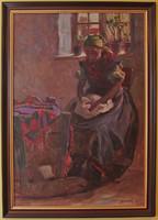 V39 Sándor Antal (1884-?) nagyméretű festménye - Gyermekét sirató anya