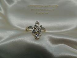 Szecessziós stílusú arany gyűrű brillel és gyémántokkal