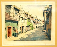 Goldsmiths Street (zlatá ulicka) in Prague - colored etching in antique frame