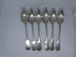 6 darab 13 latos antik ezüst kanál 1856, Pest