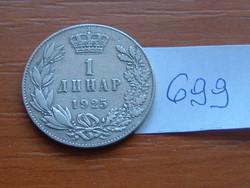 SZERB HORVÁT SZLOVÉN KIRÁLYSÁG 1 DINÁR 1925 (b) (Brussels Mint, Belgium) #699