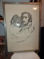 Alberto Zampieri litográfia, 21/100, 50x70 cm fészkű keretben, szignós