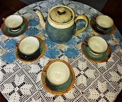 Antik KAHLA és Bavaria összeházasított különleges készítésű hibátlan porcelán teás készlet
