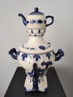 Orosz Gzhel porcelán kézzel festett jelzett szamovár 26x17 cm TÖRTÉNETTEL