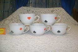 Régi Zsolnay teás csésze - öt darab együtt - francia kártya mintás