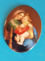 Festett porcelán kép szentkép, medál (KPM Berlin?)