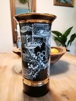 Hollóházi Szász Endre porcelán váza Adria 26 cm