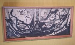 Kortárs festészet - festmény - 35 x 75 cm.