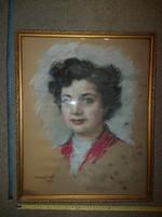 Balogh szignós pasztell portré festmény, eredeti keretében, beázva...
