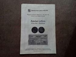 Ajánlati árlista - Pannonia Terra Numizmatika Kft. 8. aukció 2000. (id7289)
