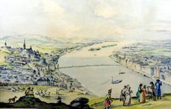 PEST - BUDA LÁTKÉPE 1848 ELŐTT ... APRÓLÉKOSAN KIDOLGOZOTT GYÖNYÖRŰ RÉGI AKVARELL !