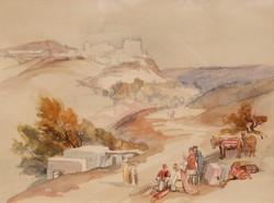 Egri csillagok - török kori jelenet, keretezett akvarell
