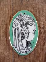 Hollóházi Szász Endre zöld porcelán medál