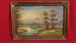 Kékessy K.: Sziget a naplementében - Szép olaj-vászon festmény hozzáillő, antik keretben