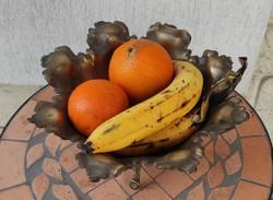 Antik szecessziós levél és faminta,réz kínáló Asztalközép gyümölcs csokolàdé dísztàl