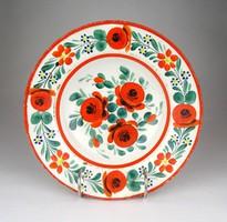 1D817 Antik virágos Hollóházi porcelán falitányér 23 cm