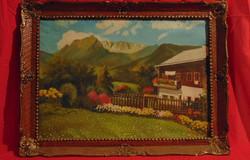 Ház az Alpokban - Szignózott olaj-vászon alkotás szép, antik keretben (1950-60-as évekből)