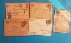 6 db orosz levelezőlap előnyomott + postai bélyegekkel. (1 db portós)