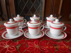 Zsolnay porcelán MSZMP pártirodai kávés csészék tetővel 6 db, Ritka