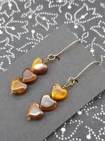 Tiger eye heart earrings