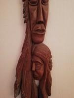 Régi gyönyörű falidísz, jelzett fafaragás, 63cm