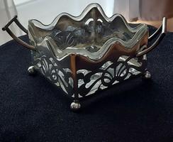 Antik ezüst szecessziós füles kínáló, L&C mesterjegy, áttört mintázat, csiszolt üvegbetétes, jelzett