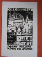 Nagy Árpád: Exlibris Kiállítás 1965 emlékére  linometszet, papír, 18 x 12 cm