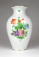 1D821 Régi virág mintás Herendi porcelán váza 14 cm