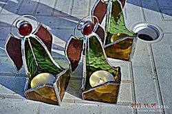 Tiffany Angyalos mécsestartó, mécses, Üvegművésztöl