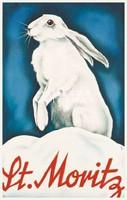 Vintage téli sport hirdetés reklám plakát reprint nyomat fehér nyúl nyuszi füles hó síelés Svájc