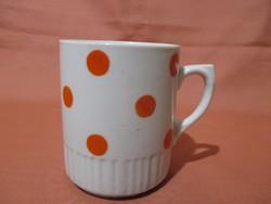Zsolnay szoknyás bögre piros pöttyökkel, csésze