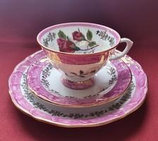Wakbrzych lengyel porcelán reggeliző szett 3 részes (csésze, csészealj, kistányér) kávés teás