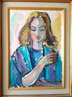 Józsa János festőművész Feleségem portréja 1985.
