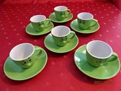 Német porcelán, keki zöld, hatdarabos kávéscsésze + alátét, figura díszítéssel.