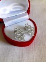 Csillogó zöld ametiszt 925 ezüst 14k arany fülbevaló