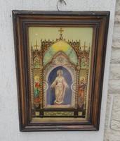 Hàzi àldàs  képkeretben, gyönyörű antik kép !Szent József,Szent Mària ,
