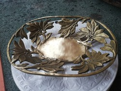 Antik bronz asztalközép, kosár 1,5 kg