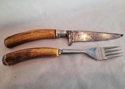 Antik agancsnyelű vadász reggeliző kés - villa szett ... tőr / vadászkés...