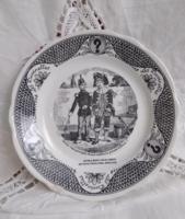 Sarreguemines fekete mintás gyűjtői fajansz tányér