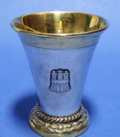 Ezüst keresztelő pohár gazdagon aranyozva