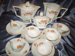 100 éves ZehSchelzer 6személyes porcelán teás készlet garnitúra 15 db.hibátlan.