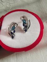 Valódi ragyogó  london kék topáz & zafír köves 925 fülbevaló