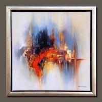 Obermayer (1965- ) Függőhidak városa absztrakt olaj-vászon festmény