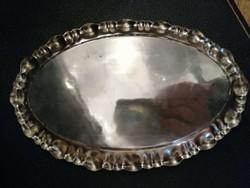 Ezüst hólyagmintás tálca vagy kínáló, ovális forma.