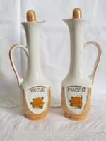 Jelzett, lüszteres, sárga rózsás ukrán porcelán olaj / ecet tartók